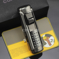 COHIBA Black 4 Red Torch Jet Fire Windproof Cigar Lighter Classic Cuban Refillable Cigarette Flame Lighter Built-in Punch Drill