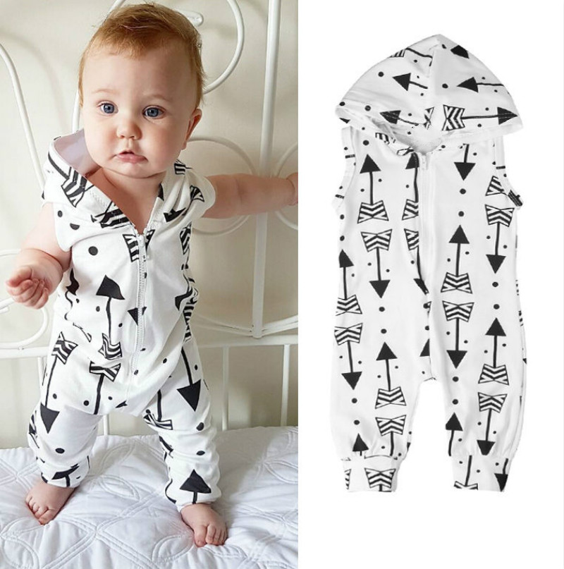 Baby Clothing Arrow Printed Rompers Newborns Body Suit Kids Clothes Boy Girl Jumpsuit Baby Romper Hooded Sleeveless Overall0-24M infant baby girl rompers jumpsuit long sleeve for newborns baby boy brand clothing bebe boy clothes body romper baby overalls