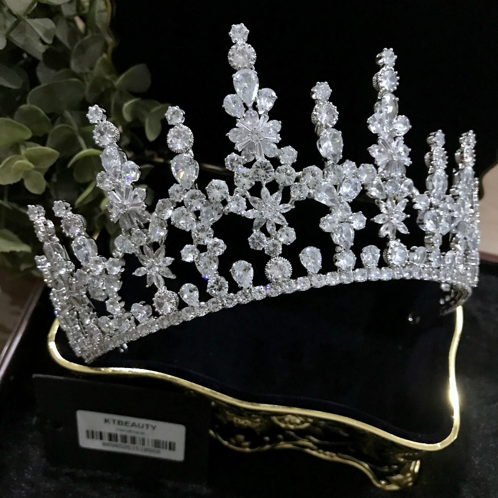 New Rhinestone Silver Zircon Crown Custom Made Big Tiara Headpiece Royal Bridal Wedding Dressing Crown Accessory Women Jewelry