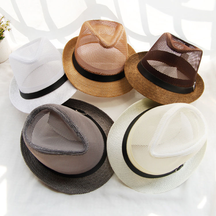 10pcs/lot 01806-beixing Summer Solid  Mesh Paper Cap Men Women  Fedoras Hat Wholesale