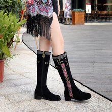 National Style Embroidery Black Brown Cowhide Round Toe Thick Heels Knee High Boots For Women 2016 Winter New Fashion Shoes