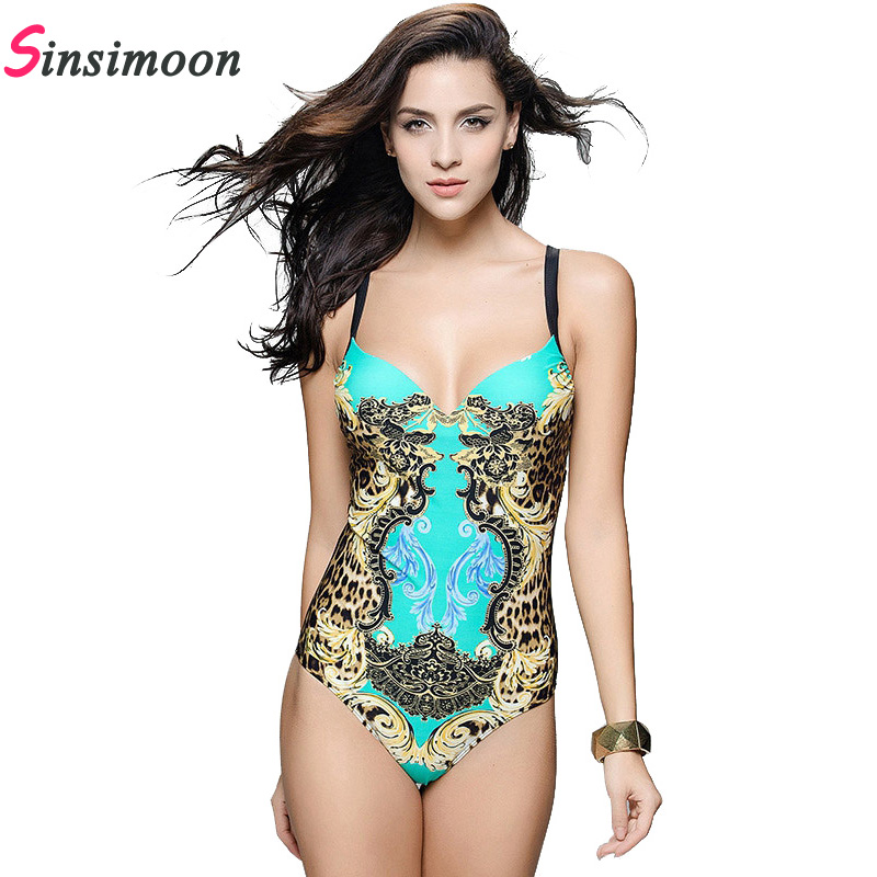 2017 Retro Vintage One Piece Swimsuit Women Bandage Push up Bathing suit Sexy Flower Print Swimwear Plus size Monokini Bodysuit swimming suit women push up swimsuit one piece monokini swimwear big flower print costumes vintage stripe beachwear plus size