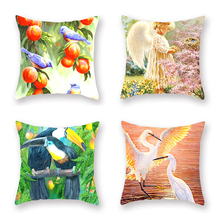 4pcs/set Polyester Cushion Cover Flowers Birds Parrot Pattern Decorative Pillow Covers Car Sofa Office Seat Decor Cases 45x45cm