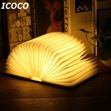 ICOCO Портативный USB Перезаряжаемые светодио дный Магнитная складная деревянная лампа для чтения ночник настольная лампа Лидер продаж для домашнего декора Прямая поставка