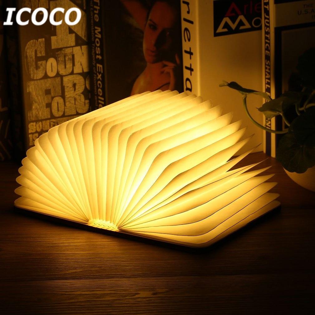 ICOCO Portatile USB Ricaricabile LED Magnetica Pieghevole In Legno Lampada del Libro Luce di notte Lampada Da Tavolo Vendita Calda per Home Decor Goccia nave