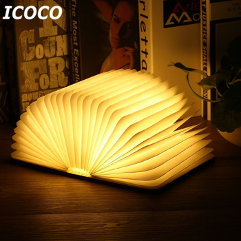 Icoco Portable USB Rechargeable LED Magnetik Lipat Buku Kayu Lampu Malam Lampu Lampu Meja Penjualan Panas untuk Dekorasi Rumah DROP kapal