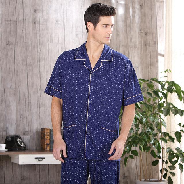 Além de Homens do Tamanho Conjunto de Pijama Homewear Macio Fibra de Bambu Sleepwear Pijamas de Manga Curta Pijama de Verão Turn-Down Collar Salão pijama