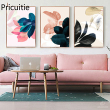 цена Canvas print Pink Leaves Nordic Posters Picture Kitchen Watercolor Wall Art Canvas Poster Wall Living Room Home Decor онлайн в 2017 году