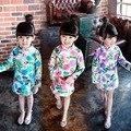 Usar un 2016 estilo de China algodón flores en nombre de niños vestido cheongsam cuello SY003