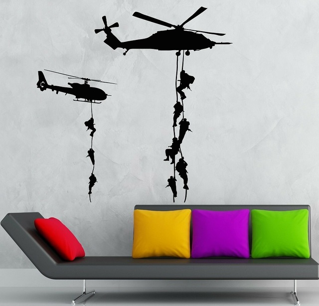Helicopter Vinyl Decal Marines Military War Soldier Wall Stickers 2FJ18