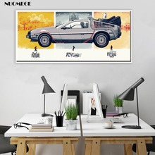 Back To The Future Car Poster Paintings Print Classic Vintage Movie Wall Art Picture Silk Canvas Art  Home Decor Boy Kid Gift