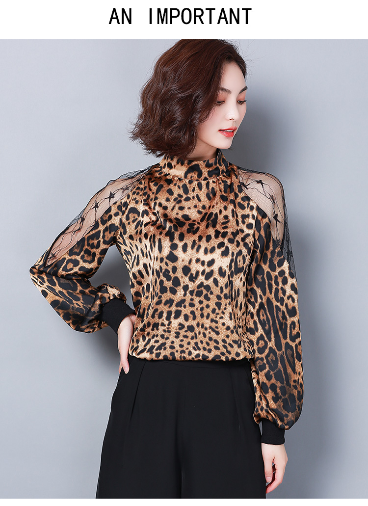HTB1s2xRbErrK1RkSne1q6ArVVXaw - Fashion womens tops and blouses sexy lace off shoulder top Leopard print chiffon blouse shirt long sleeve women shirts 2656 50
