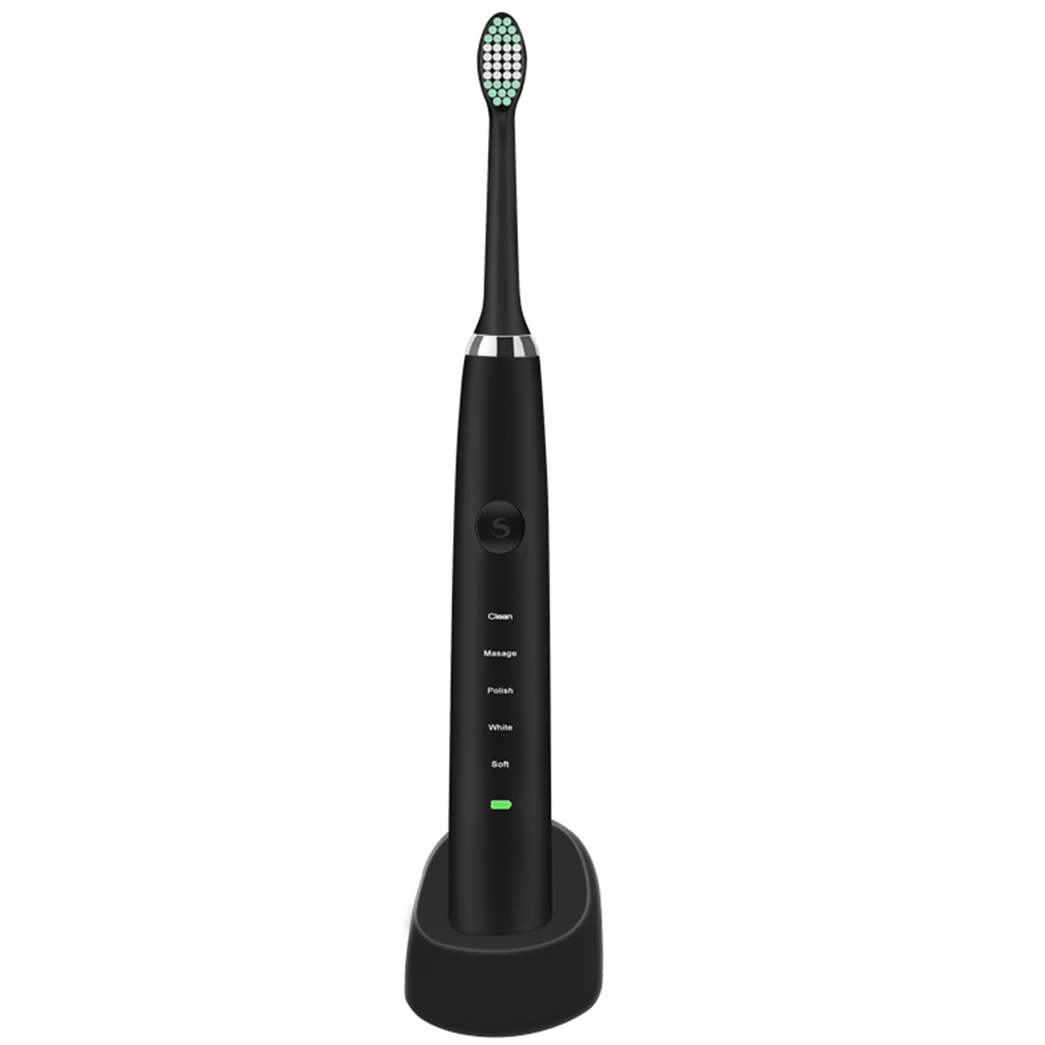 Retemporel Electric Toothbrush Rechargeable Sonic Toothbrush with 5 Optional Modes Waterproof 2 Replacement Heads Black soocas x3 sonic electric toothbrush