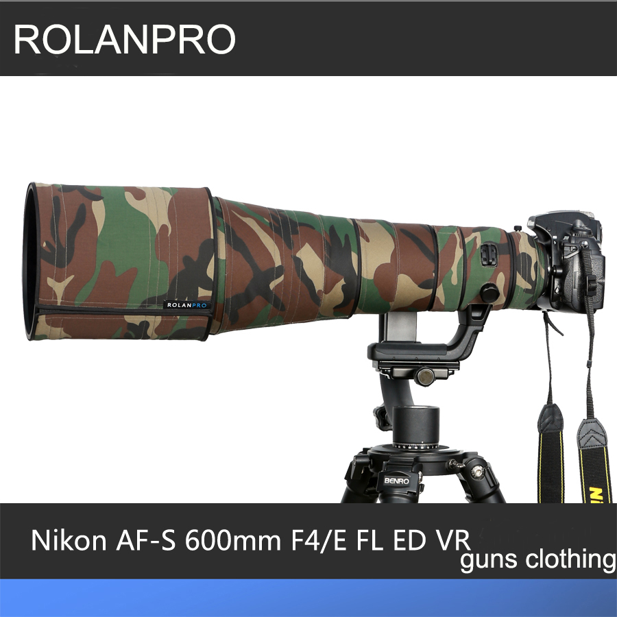 ROLANPRO Lens Clothing Camouflage Rain Cover Nikkor Nikon AF-S 600mm F/4E FL ED VR Lens Protective Case Lens Protection Sleeve nikon nikon d750 af s nikkor 24 120 мм f 4g ed vr lens