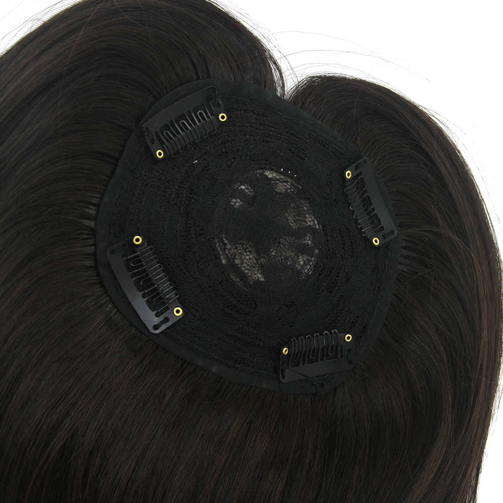 Soowee Long marrón pelo sintético peluches pelo lacio Bang flecos tapas cierres para hombres y mujeres