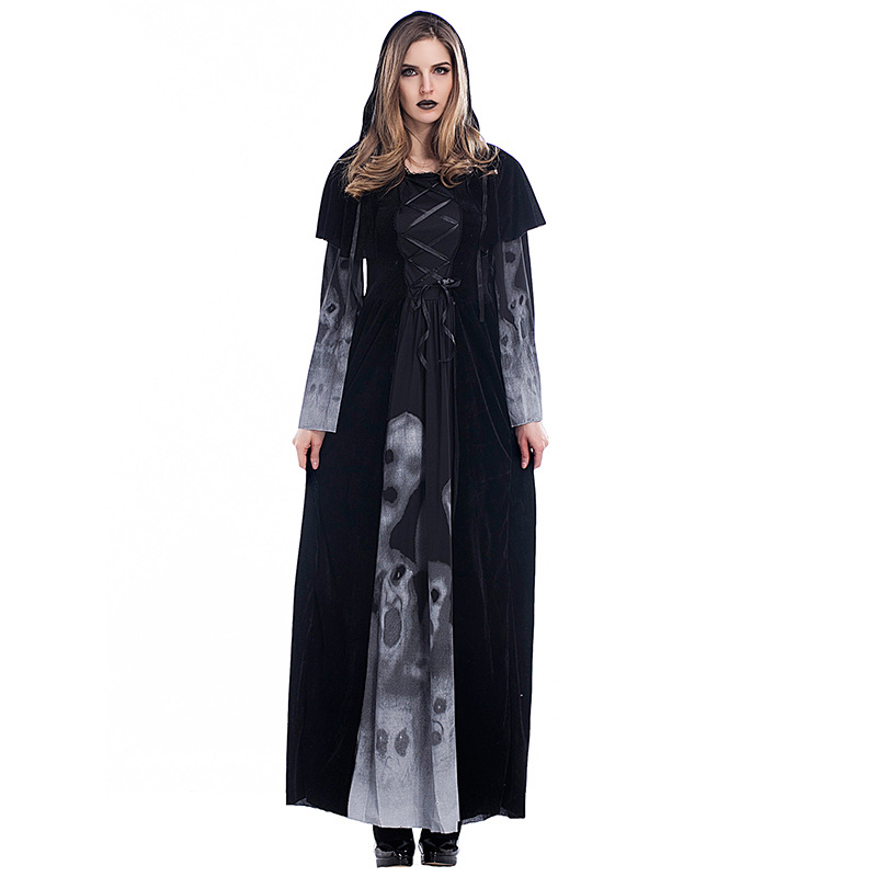 Adogirl Halloween Skull Printed Witch Cosplay Womens Full Length Black Halloween Costumes Vampire Adult Costume Cosplay