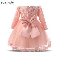 Autumn Baby Girl Dress Long Sleeve Pink White Infant Dress For Baptism Christening First Birthday Party