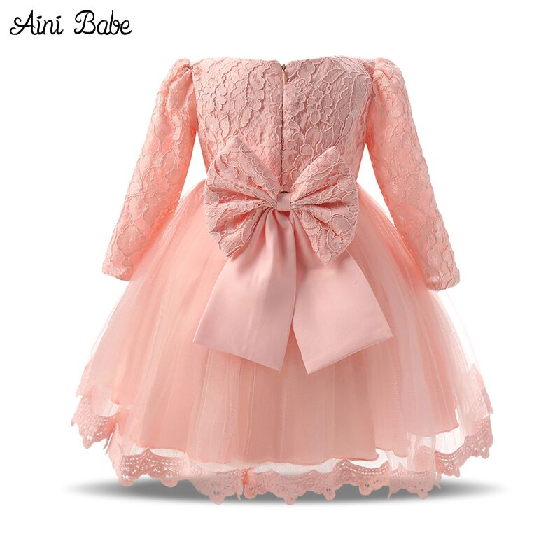 Autumn Baby Girl Dress Long Sleeve Pink White Infant