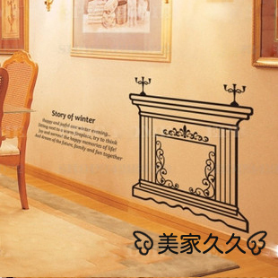 Winter fireplace stove wall stickers living room background wall glass