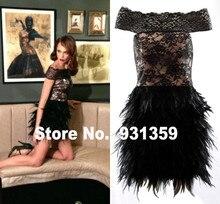 Hohe Qualität Black Lace Schulterfrei Mini Kurze Maß Party Kleid Vestido De Festa Design CD91896 Kurze Feder Kleid
