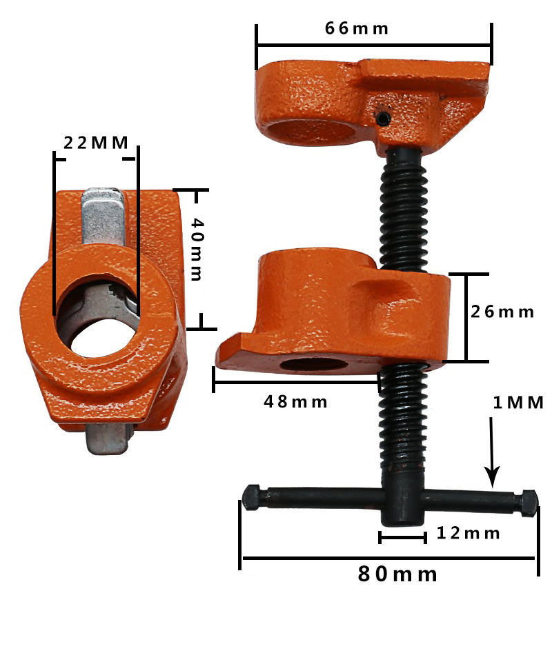 1 2 inch Heavy Duty Pipe Clamp Woodworking Wood Gluing Pipe Clamp Pipe Clamp Fixture Carpenter Woodworking Tools in Clamps from Home Improvement