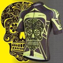 4655aa9df Kemaloce Yellow Bright Skeleton Cycling Jersey China Short Sleeve Men  Cycling Shirts Retro Crane Cheap Bicycle Shirt Bike Jersey