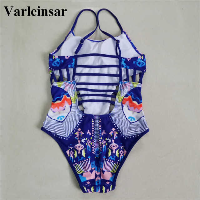 New Sexy 2017 blue printed strappy lace up back one piece swimsuit female swimwear women padded bathing suit swim wear V378