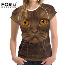 FORUDESIGNS Band Clothes Women Fashion Shirts Tees Cute 3D Cat Elastic Breath Summer Basic T shirts For Girls Clothes Mujer Tops