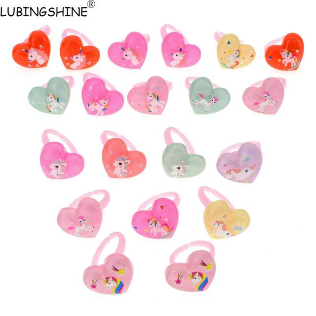 LUBINGSHINE Children Acrylic Rings Heart Ring Cute Sweet Unicorn Adjustable Fing