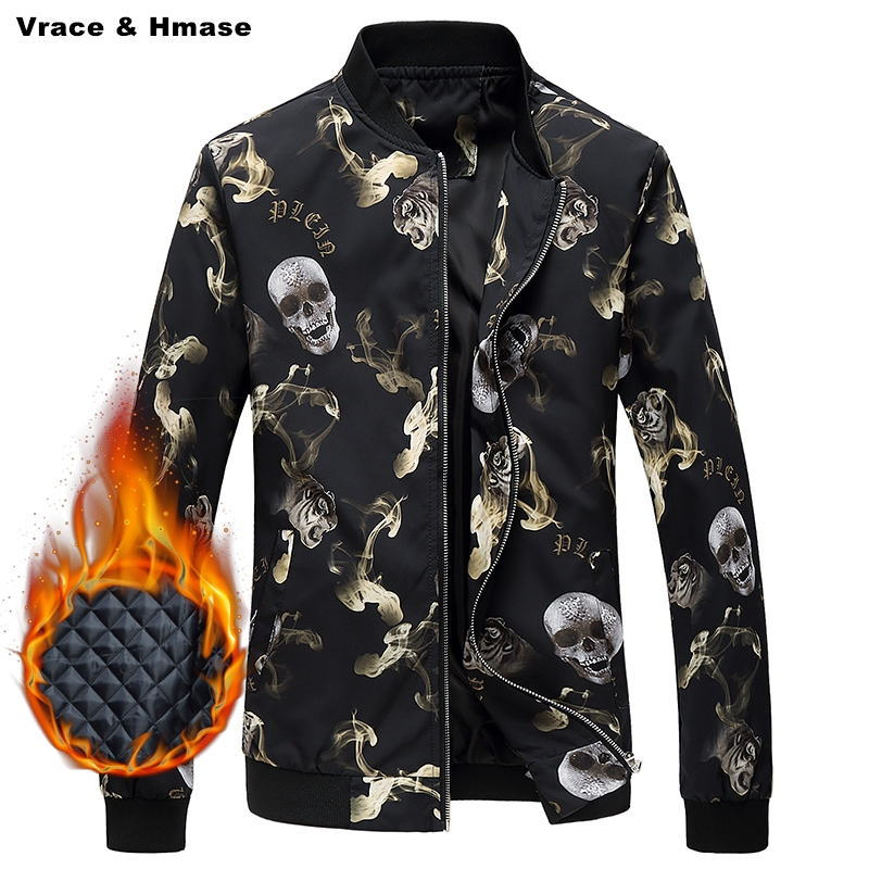 Skulls exquisite 3D printing fashion boutique stand collar baseball jacket 2017 New cotton liner thick quality winter jacket men