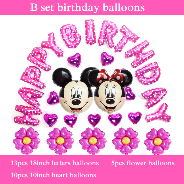 30pcs mickey minnie head baloons foil material happy birthday balloons set for girl birthday letter balloons