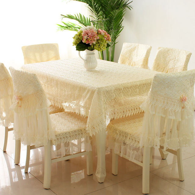 Luxurious White Crystal Love Lace Embroidered Tablecloths Quilted Chair  Cover Rectangular Elegant Home Party Wedding Decoration