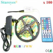 100 комплектов RGBW RGBWW SMD5050 5 м неводостойкая Светодиодная лента фонарик RGB W лента+ 40 кнопочный пульт дистанционного управления+ 3A адаптер питания