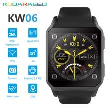 KW06 Relógio Inteligente homens MTK6580 512 MB + 8 GB Android 5.1 Telefone Relógio De Pulso Monitor De Freqüência Cardíaca Do Bluetooth Smartwatch para iOS Android