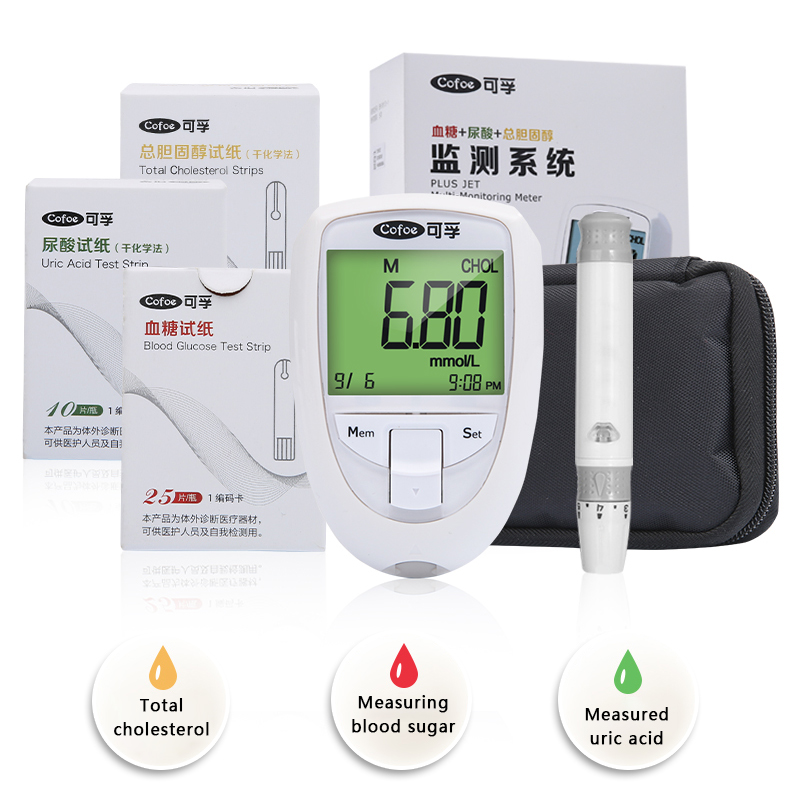 3 in 1 Household Cofoe Blood Fat Blood Glucose Uric Acid Cholesterol Detecting Instrument with Test Strips Diabetes Gout Device