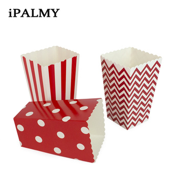 ipalmay 180pcs Favor Blue Green Red Striped Wave Dot Popcorn Box Birthday Wedding Party Baby Shower Supplies Candy Gift Bags