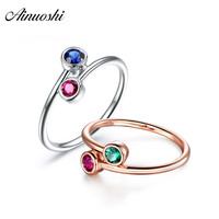 AINUOSHI Trendy 2 Round Cut Blue Red Green Sona Rings White Gold Rose Gold Color Women