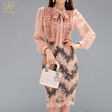 H Han Queen 2 Pieces Suits Women 2018 Autumn Ruched Draped Ribbons Shirt Top & Print Lace Sheath Bodycon Pencil Skirt Office Set
