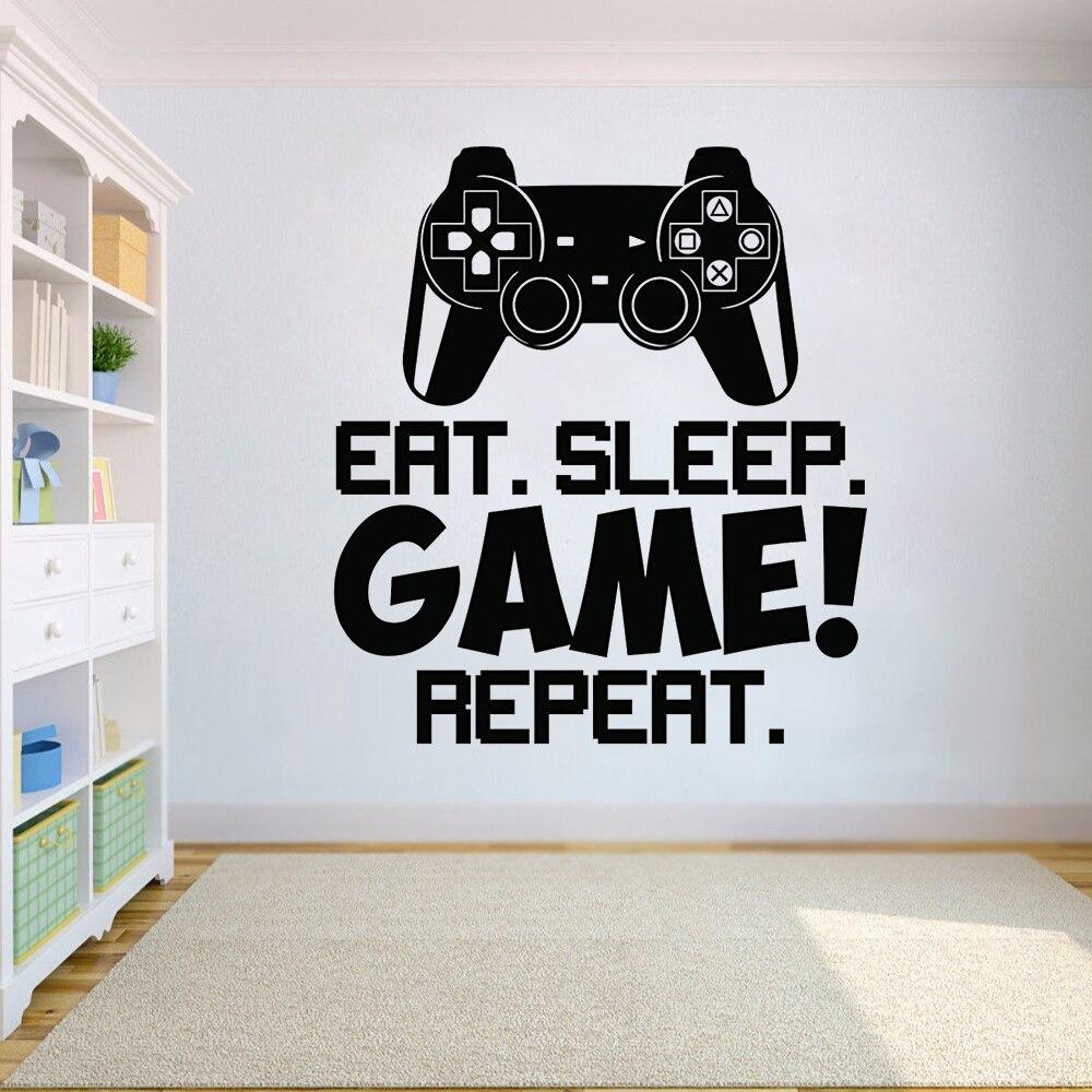Gra Kontroler Naklejki ścienne Napis Gry ścienne Naklejka Wall Art Chłopców Wystrój Pokoju Dla Graczy Gamer Vinyl Plakat Na ścianie Ay1379