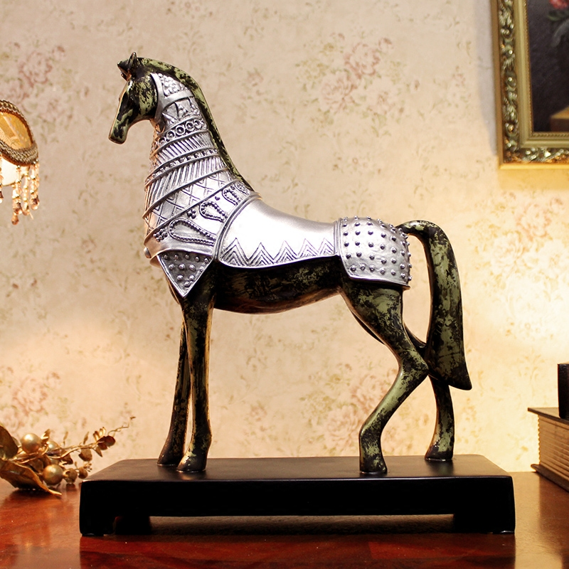 Antique War Horse Sculpture Handmade Resin Battle Steed Statue Art Craft Ornament Furnishing for Business Gift and Home Decor