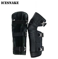 ICESNAKE Genuine Leather Winter Outdoor Cold Proof Short Warm Motorcycle Kneepads Sport Tactical Protection Knee Protector