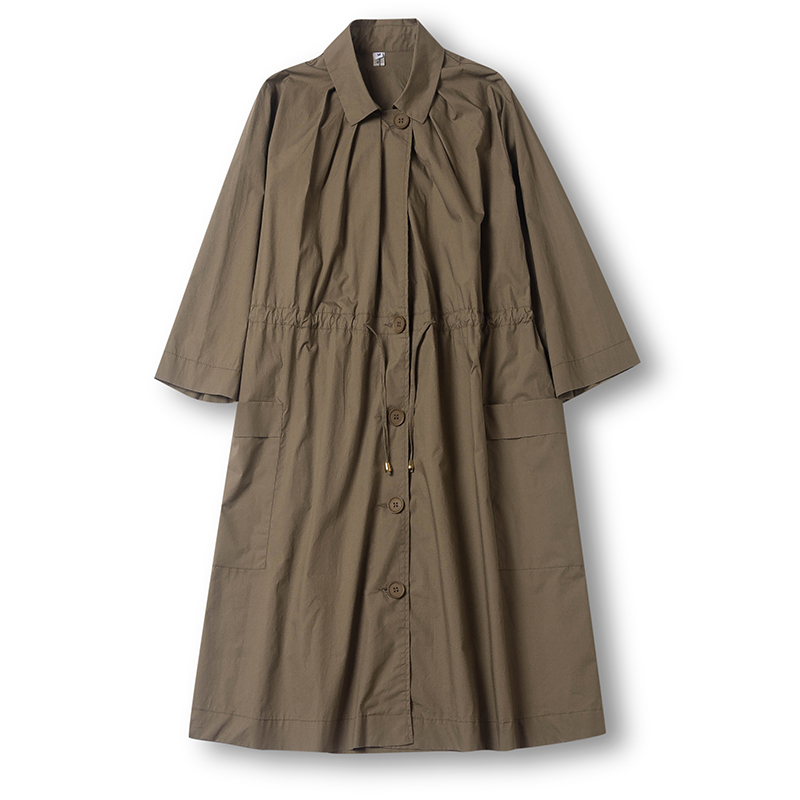 khaki Fold Poitrine Manteau Occasionnel Poches Nouvelle Mode Lady qlzw Unique Arrivée Turn 2018 Kb591 Lâche Femmes Automne down Black Collar qwcPzH