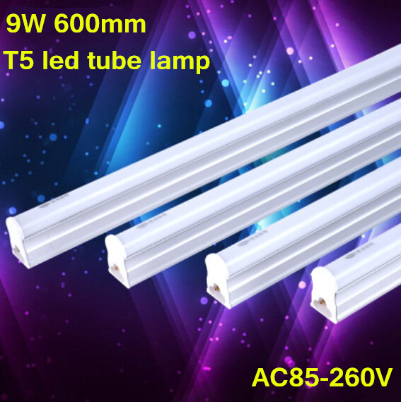 LED T5 Tube AC110- 240V 9W/ 600mm/ Linkable /No Dark Zone /Under Cabinet / Kitchen/ Showcase Lighting Fixture For Home 2PCS/LOT