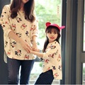 Autumn Winter Family Matching Clothing White Pink Cotton Long Sleeve T-shirt Character Matching Mother And Daughter Clothes