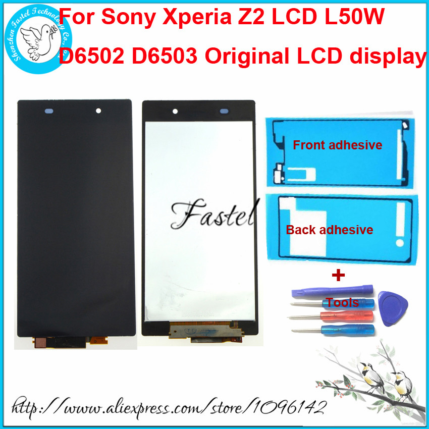 ФОТО For Sony Xperia Z2 LCD L50W D6502 D6503 Original LCD Display + Touch screen Frame and battery door Adhesive Sticker Glue