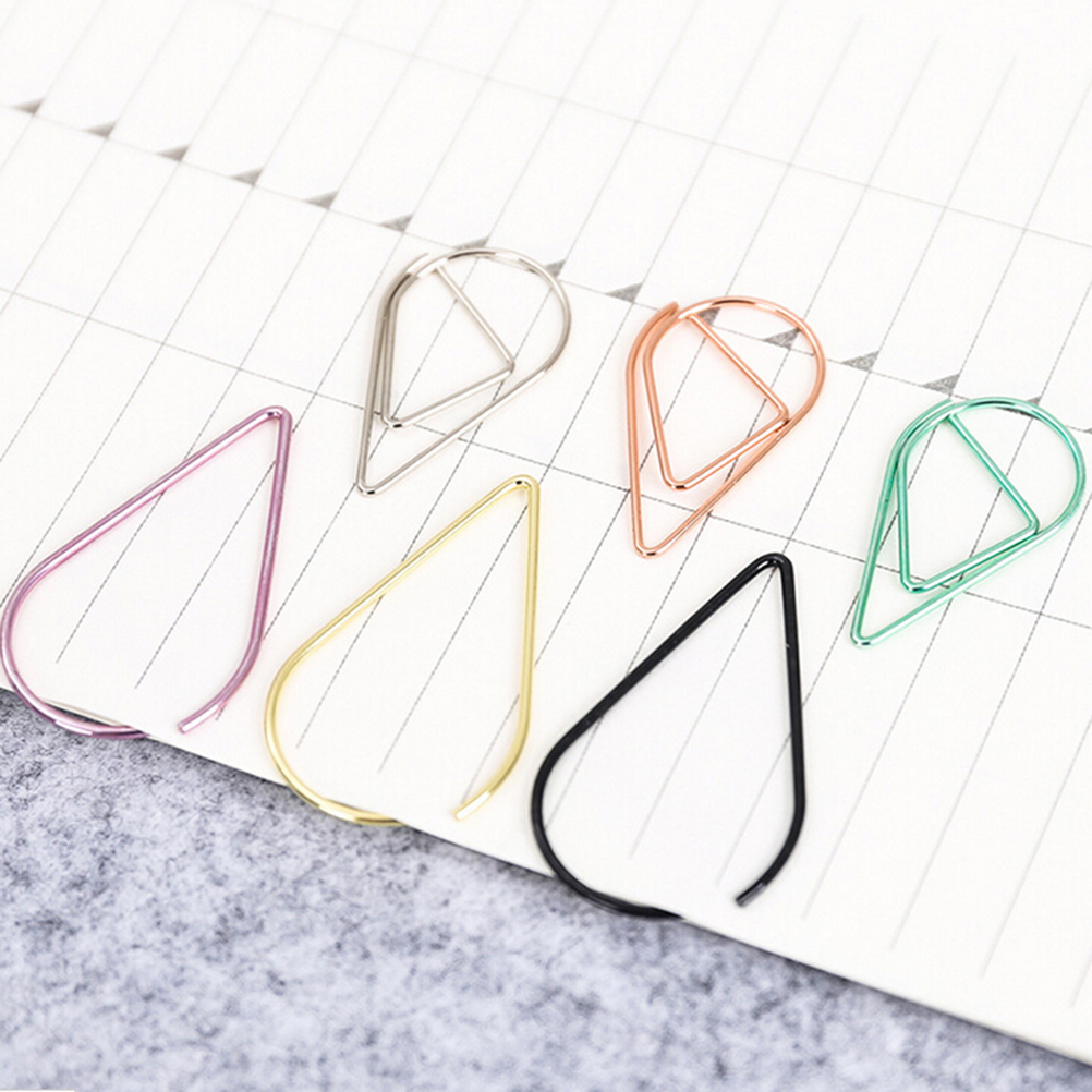 Wholesale 10 Pcs/lot Metal Material Water Drop Shape Memo Paper Clips Funny Bookmark Office Shool Stationey