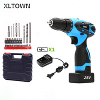 Xltown 25v Cordless Electric Screwdriver with 27drii bits Rechargeable Lithium Battery Multifunction Electric Drill power tool
