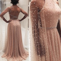 SuperKimJo Peals Prom Dresses 2019 Dusty Pink A Line Elegant Backless Long Prom Gown Vestido De Festa