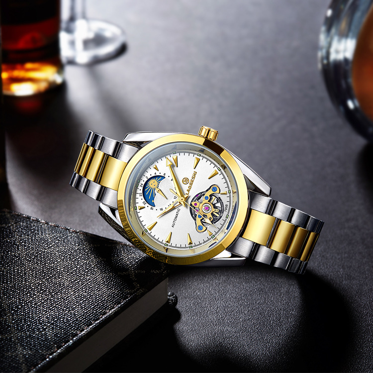 Laogeshi brand Tourbillon hollow waterproof watches men luminous automatic mechanical watch 24 hours display Moon phase Relojes jam tangan pria gold original