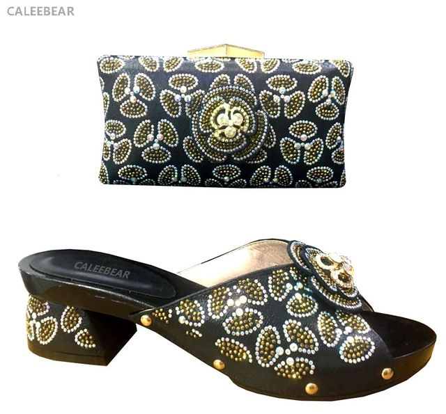 2018 Fashion Italian Shoes With Matching Bags Stone African Women And Set Whole
